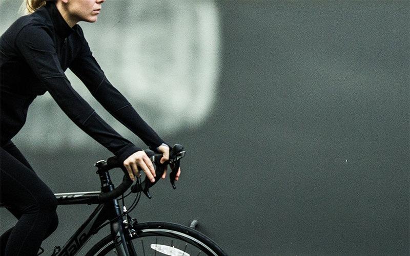 Women riding her bike