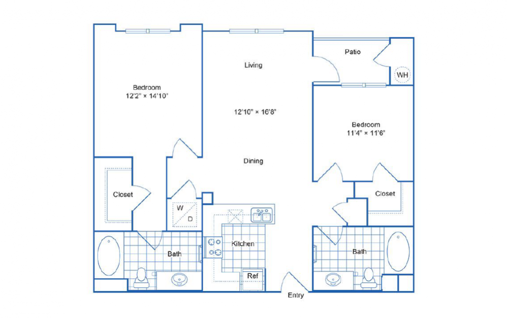 B2 - 2 bedroom floorplan layout with 2 baths and 1045 square feet.